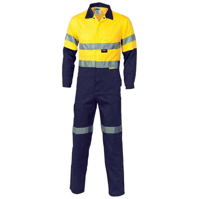 Picture of DNC Lightweight Cool-Breeze Hi Vis Cotton Drill Coverall with 3M R/Tape