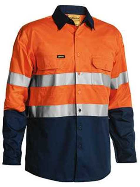 Picture of Bisley Two Tone Hi Vis 3M Taped Lightweight L/S Shirt