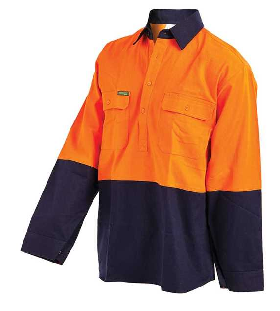 Picture of Workit Hi vis 2 Tone Dual Weight Half Closed Welders Shirt