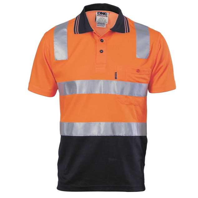 Picture of DNC Cotton Back Hi Vis 2 Tone S/S Polo Shirt with Reflective Tape