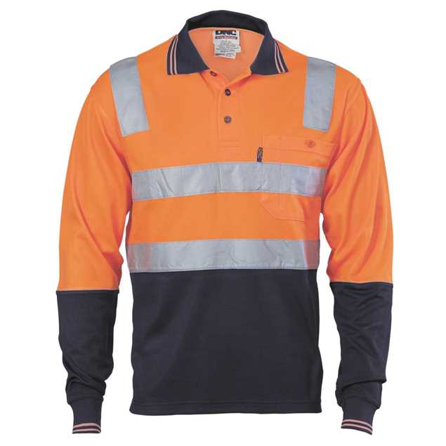 Picture of DNC Cotton Back Hi Vis 2 Tone L/S Polo Shirt with Reflective Tape
