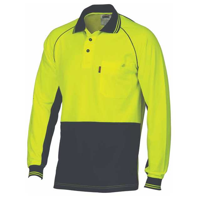 Picture of DNC Cotton Back Cool-Breeze L/S Contrast Polo